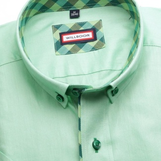 Men slim fit shirt (height 176-182) 6609 with short sleeve in green color