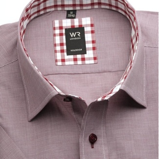 Men slim fit shirt with short sleeve London (height 176-182) 6617 in claret color