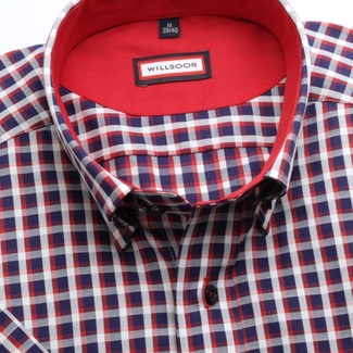 Men slim fit shirt (height 176-182) 6621 with short sleeve a coloured checked