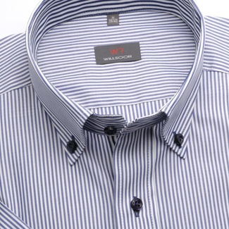 Men slim fit shirt (height 176-182) 6627 with white-blue strips a short sleeve