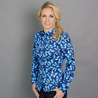Women shirt Willsoor 6635 in dark blue color with formula Easy Care