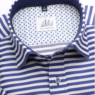 Men slim fit shirt (height 176-182) 6653 with strips a short sleeve