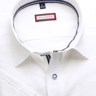 Men slim fit shirt (height 176-182) 6664 with short sleeve in white color