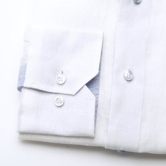 Men slim fit shirt (height 176-182) 6666 in white color with collar to cufflinks, Willsoor