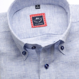 Men slim fit shirt (height 176-182) 6667 in light blue color with collar to cufflinks, Willsoor