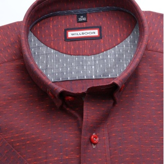 Men slim fit shirt (height 176-182) 6711 in red color with short sleeve