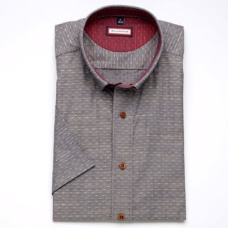 Men slim fit shirt (height 176-182) 6713 in gray color with short sleeve
