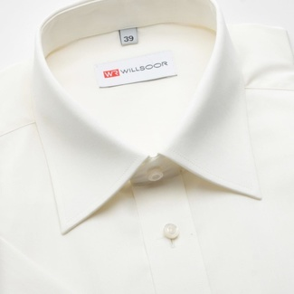 Men classic shirt (height 176-182) 676 with short sleeve in ecru color