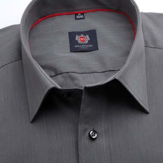 Men slim fit shirt London (height 176-182) 6773 in graphite color with formula Easy Care