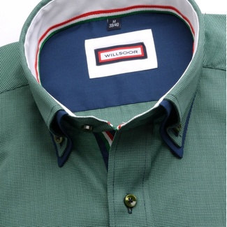 Men shirt slim fit (height 176-182) 6789 in green color with double collar to cufflinks