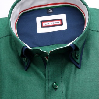 Men slim fit shirt (height 176-182) 6791 in green color with double collar to cufflinks