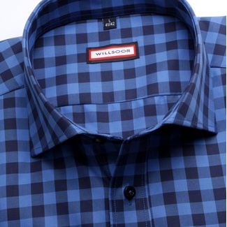Men slim fit shirt (height 176-182) 6850 with coloured checked a formula Easy Care