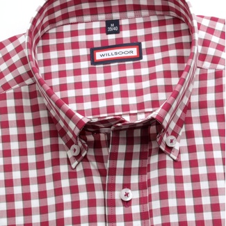 Men slim fit shirt (height 176-182) 6863 with white-bordeaux checked