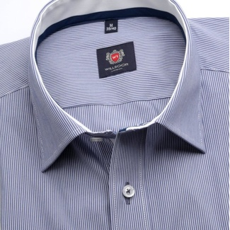 Men classic shirt London (height 176-182) 6880 in blue color with white strip