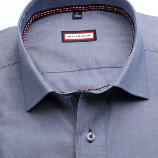 Men slim fit shirt (height 188-194) 6901 in blue color with italian collar