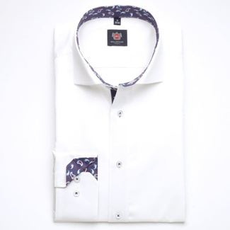 Men slim fit shirt London (height 176-182) 6956 in white color with formula Easy Care