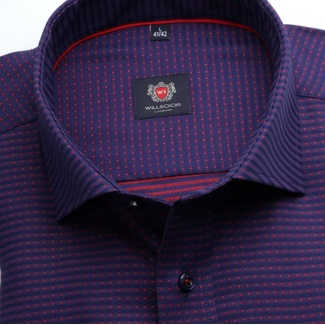 Men slim fit shirt London (height 176-182) 6991 in blue-purple color with formula Easy Care