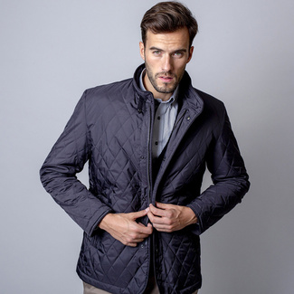 Men quilted jacket (height 176-182 to 5XL) 7047 in dark blue color