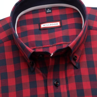 Men slim fit shirt (height 176-182) 7063 in red color with checked