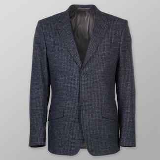 Men suit jacket Willsoor (height 176-182) 7085 in dark blue color with fine gray checked