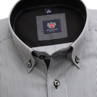 Men slim fit shirt London (height 176-182) 7128 in graphite color with formula Easy Care