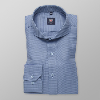 Men slim fit shirt London (height 176-182) 7138 in blue color with formula Easy Care