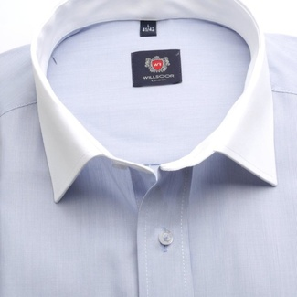 Men classic shirt London (height 176-182) 7141 with blue strip a formula Easy Care