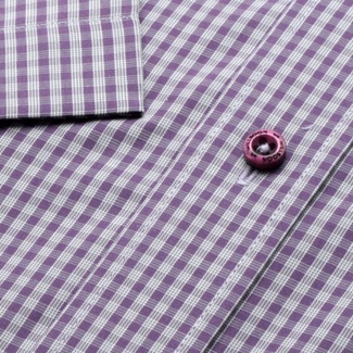 Men classic shirt with short sleeve (height 176-182) 732 with checked