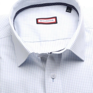 Men classic shirt (height 176-182) 7417 in white color with checked