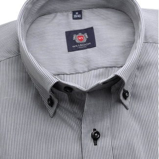Men slim fit shirt London (height 176-182) 7464 in gray color with strip