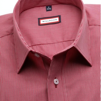 Men classic shirt (height 176-182) 7491 in claret color with checked pattern