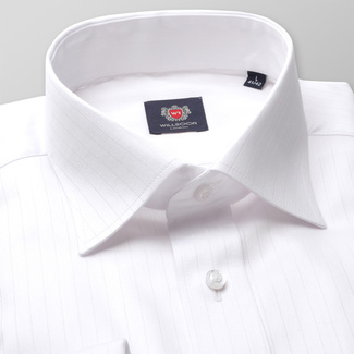 Men classic shirt London (height 188-194) 7493 in white color with strip