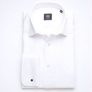 Men slim fit shirt London (height 176-182) 7494 in white color with strip, Willsoor
