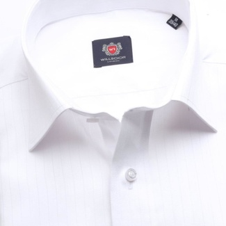Men classic shirt London (height 176-182) 7495 in white color with strip, Willsoor
