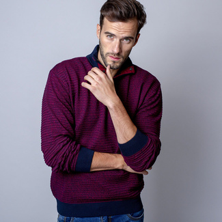 Men sweater Troyer Willsoor 7523 in claret color