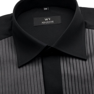 Men tuxedo shirt Fine Selection (height 176-182 I 188-194) 7525 in black color, Willsoor
