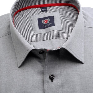 Men slim fit shirt London (height 176-182) 7572 in gray color with adjusting