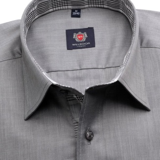 Men slim fit shirt London (height 176-182) 7577 in gray color with adjusting