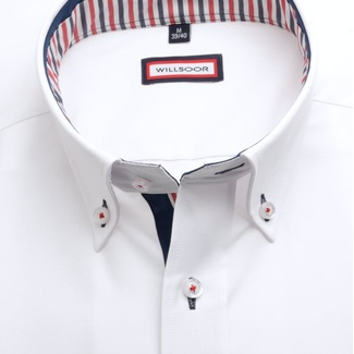 Men slim fit shirt (height 188-194) 7587 in white color with adjusting