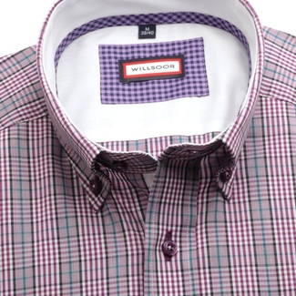 Men slim fit shirt (height 188-194) 7668 in purple color with checked
