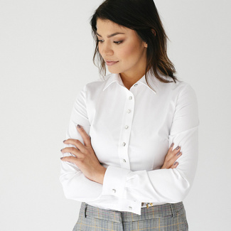 Women shirt Willsoor 7682 in white color