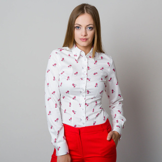 Women shirt Willsoor 7734 in white color with pattern heels