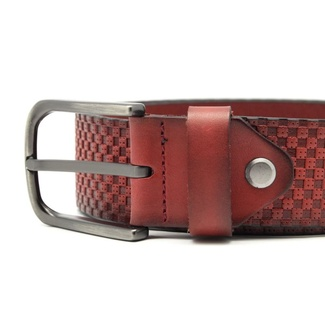 Men leather belt Willsoor 7741 in claret color