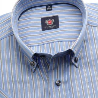 Men slim fit shirt with short sleeve London(výška176-182)&&string0&& in blue color with adjusting ea
