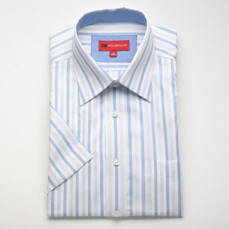 Men slim fit shirt with short sleeve (height 176/182) 775 with strips