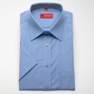 Men slim fit shirt with short sleeve (height 176/182) 776 in blue color