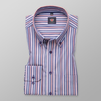 Men classic shirt London (height 176-182) 7791 in white color with strips a adjusting easy motorcy