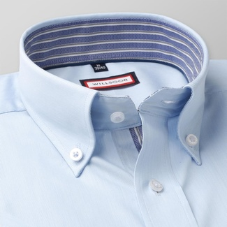 Men slim fit shirt with short sleeve (height 176-182) 7813 in blue color with adjusting easy motorcy