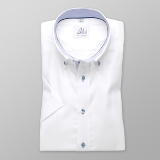 Men slim fit shirt with short sleeve (height 176-182) 7815 in white color with adjusting easy motorc