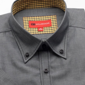 Men slim fit shirt with short sleeve (height 176/182) 781 in gray color